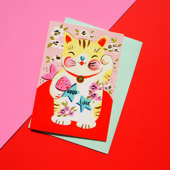 Lucy Cat Gold Foiled Card