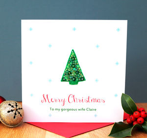 Personalised Sequin Christmas Tree Card - christmas