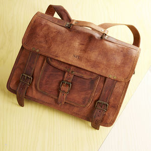 Leather Laptop Backpack Satchel - bags