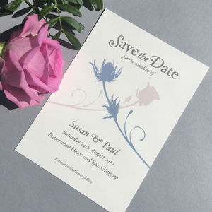 Thistle And Rose Save The Date Card