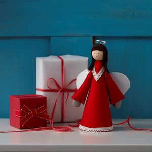 Handmade Nordic Red And White Angel Tree Topper - tree toppers