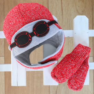 Knitted Pilot Gift Set Hat And Gloves Red - baby & child christmas clothing