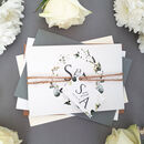 White Floral Wreath Wedding Invitations