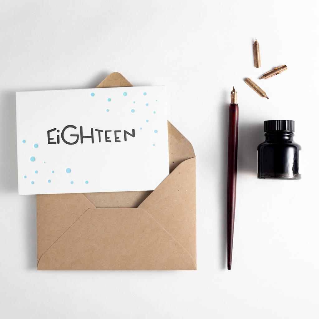 'Eighteen' Letterpress Birthday Card