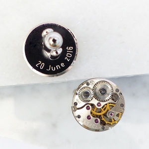 Personalised Vintage Watch Movement Cufflinks - for him