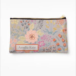 Bright Floral Personalised Make Up Bag