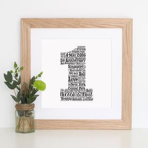Personalised 'Paper' 1st Anniversary Gift Print - posters & prints