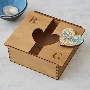 Personalised Map Heart Treasured Location Keepsake Box - best wedding gifts
