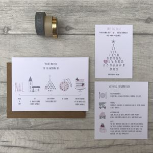 Winter Illustrated Wedding Invitation - invitations