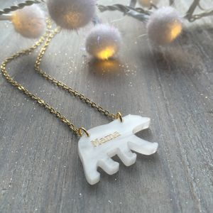 Gold Engraved, Mama Bear Necklace