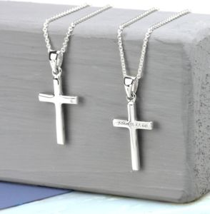 Personalised Silver Cross Necklace