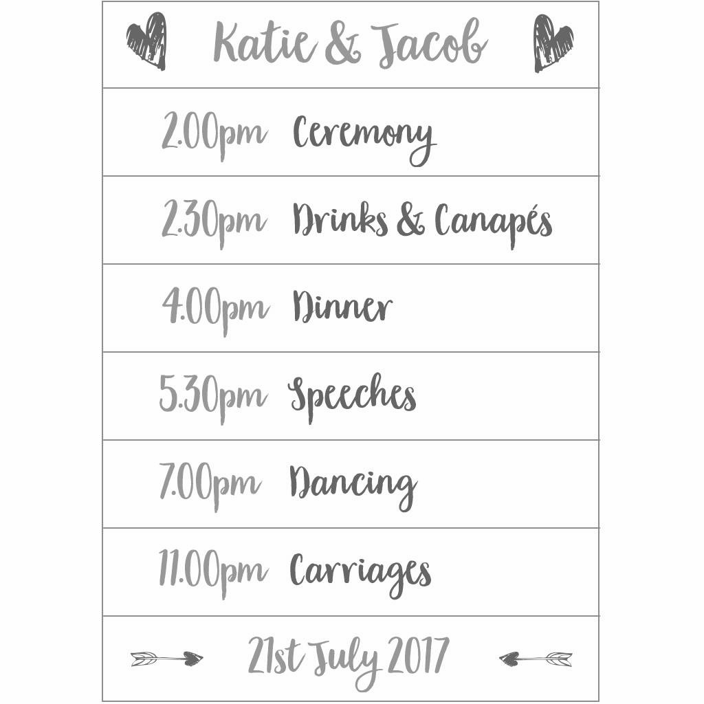 Personalised Wedding Day Planner Sign