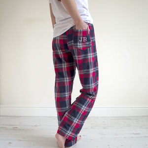 Embroidered Personalised Tartan Pyjama Bottoms - lingerie & nightwear
