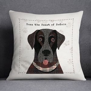Labrador Print Canvas Cushion Cover