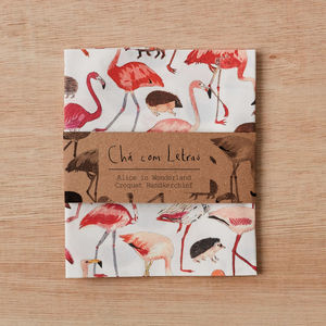 Flamingo And Hedgehog Handkerchief Pocket Square - alice in wonderland gifts