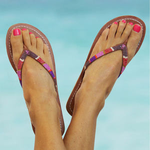 Aspiga Naisha Leather Pink Flip Flops