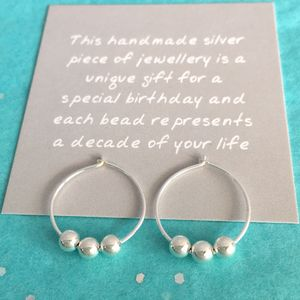 30th Birthday Silver Beads Earrings
