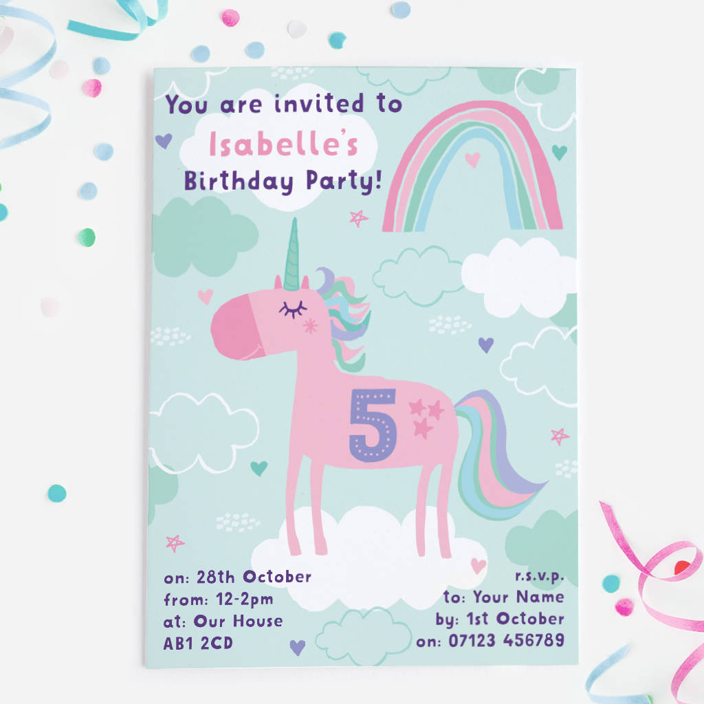Unicorn Birthday Party Invitations By Mondaland Notonthehighstreet Com