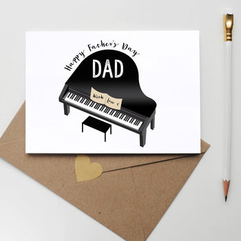 Personalised Father's Day Card With Piano