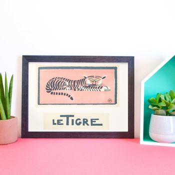 Le Tigre Framed Vintage French Tiger Print
