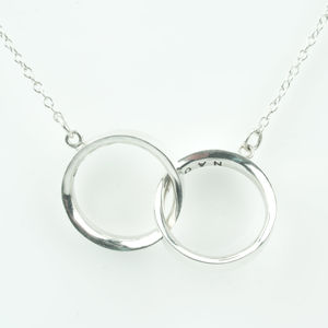 Two Rings Sterling Silver Necklace Shiny