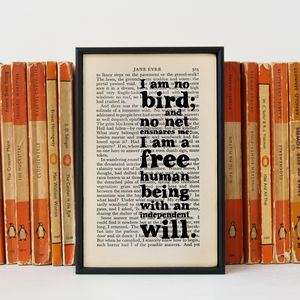 'I Am No Bird' Jane Eyre Book Quote Print - literature