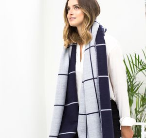 Personalised Navy To Grey Checked Blanket Scarf - scarves