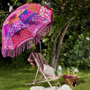 Rajasthani Indian Inspired Garden Parasol With Tassles