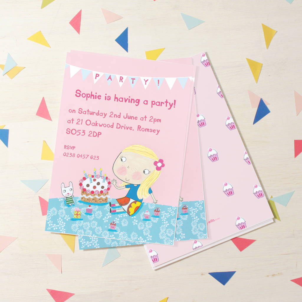 personalised girls birthday invitations by made by ellis