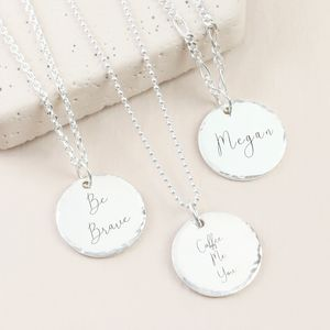 Personalised Sterling Silver Hammered Disc Necklace - personalised