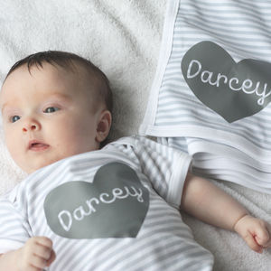 Personalised Baby Grow And Blanket New Baby Gift Set - new baby gifts