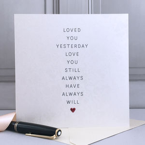 Loved You Yesterday Anniversary Card - wedding cards & wrap