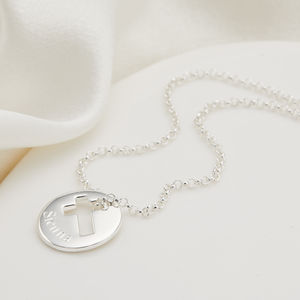 Personalised Silver Hope Cross Necklace - christening gifts