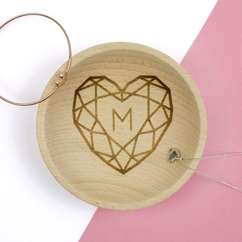 Jewelled Heart Initial Wooden Trinket Dish