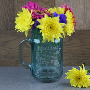 Caravan Personalised Jar Flower Vase - new in home