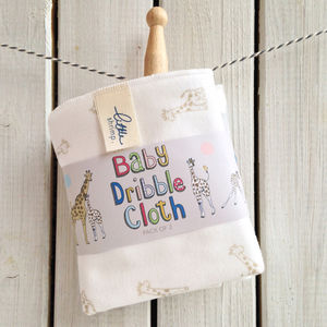 Baby Giraffe Dribble Bib Cloth Pack Of Two