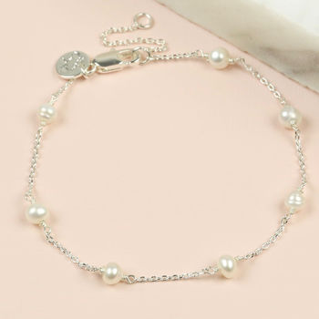 Silver Chain And Ivory Pearl Bracelet