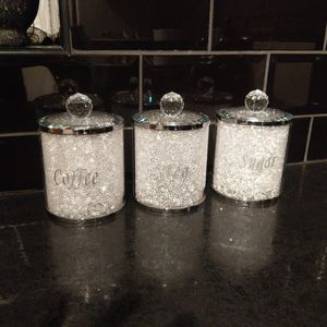Tea Coffee Sugar Storage Jars With Swarovski Crystals - canisters