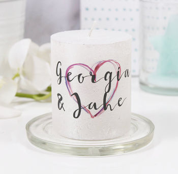 Personalised Inky Heart Metallic Candle For Couples