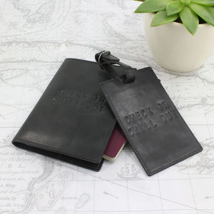 Black Vintage Leather Passport And Luggage Tag
