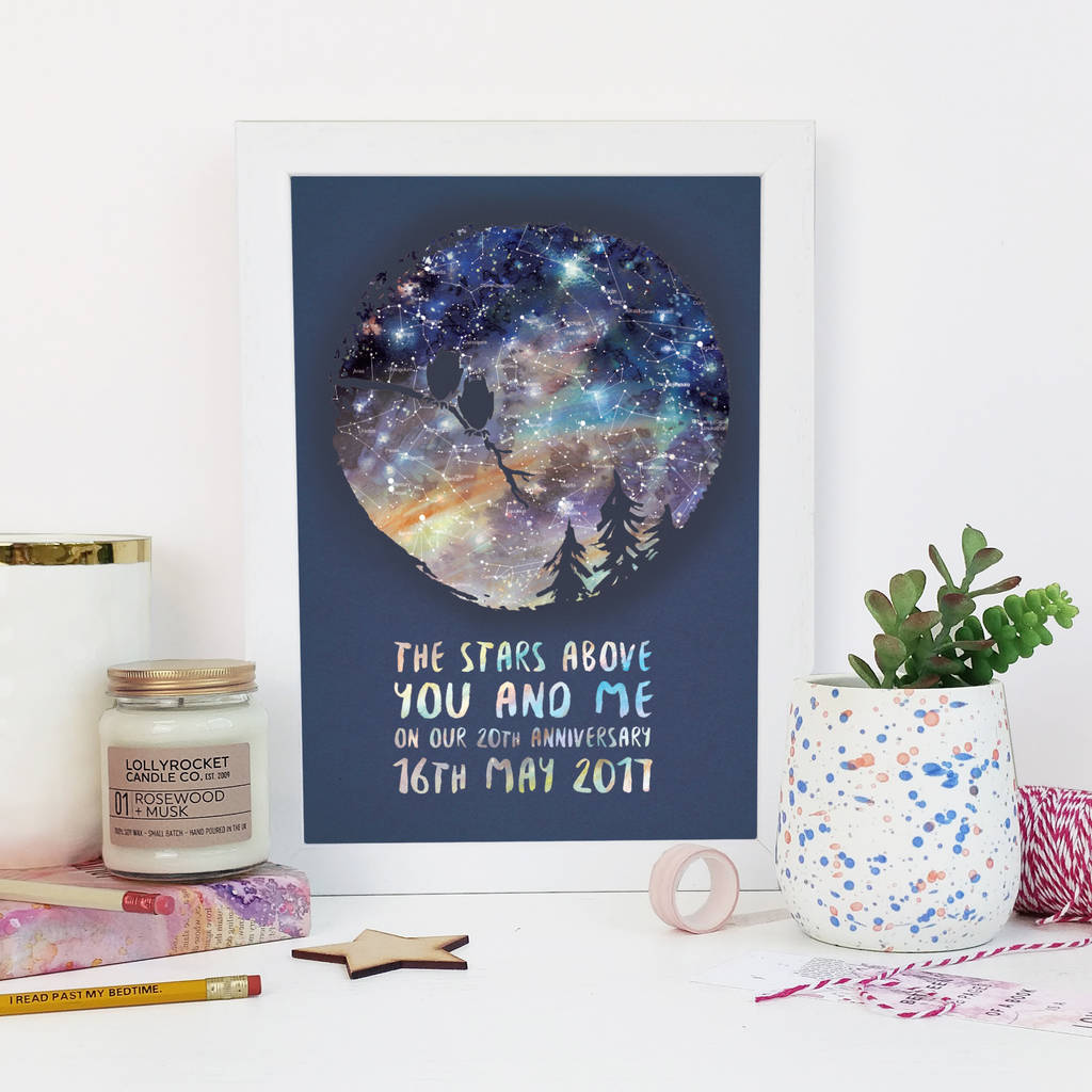 Personalised Owl Couple Star Map By Bookishly Notonthehighstreetcom - Star map from my location