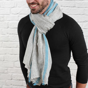 Men's Personalised Pure Cashmere Stripe Scarf