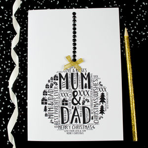 Mum And Dad Christmas Personalised Bauble Card - personalised cards