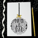 Mum And Dad Christmas Personalised Bauble Card