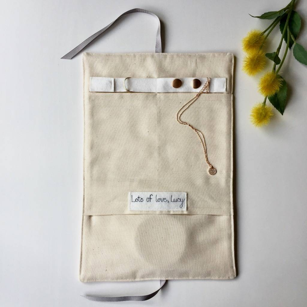 Linen Jewellery: Personalised Linen And Calico Jewellery Roll By All For