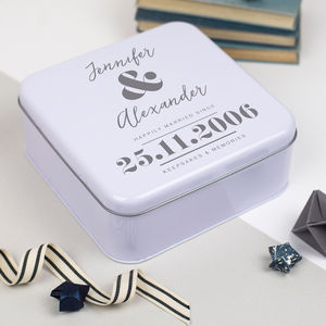 Personalised Couples Anniversary Tin - boxes, trunks & crates