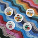 Set Of Five Crochet Badges