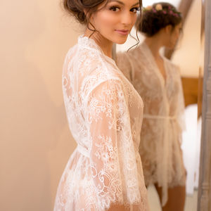 Bridal White Lace Dressing Gown