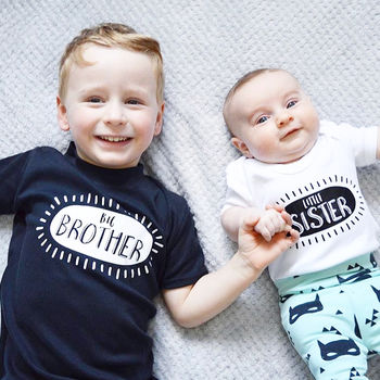 Monochrome Brother/Sister Sibling T Shirt Set