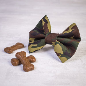 Camouflage Slide On Collar Dog Bow For Girl Or Boy Dogs - dogs